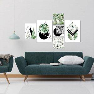 Kit Quadros Decorativos Decoração Folhas Abstrato