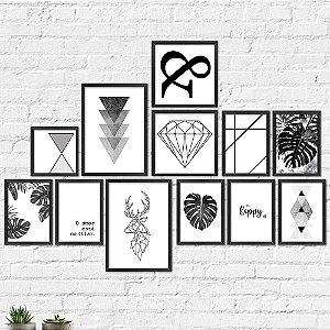 Kit Quadros Decorativos Decoração Abstrato Preto e Branco