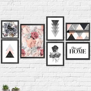 Kit Quadros Decorativos Decoração Flores Borboletas Abstrato