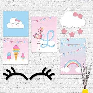 Kit Decoração Infantil Flamingo
