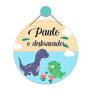 Placa Decorativa Infantil Dinossauros