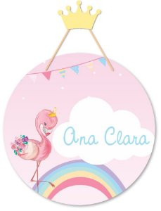 Placa Decorativa Infantil Flamingo