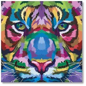 Quadro Decorativo Decoração Tigre Colorido