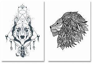 Kit Quadros Decorativos Decoração Lobo Leão