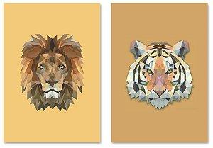 Kit Quadros Decorativos Decoração Leão Tigre