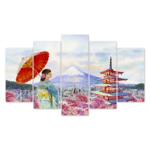 Conjunto Quadros Decorativos Monte Fuji