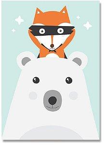 Quadro Decorativo Decoração Urso Raposa