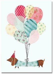 Quadro Decorativo Decoração Cachorro Balões