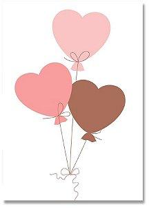 Quadro Decorativo Decoração Balões Corações