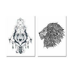 Kit Quadros Decorativos Lobo e Leão Indígenas