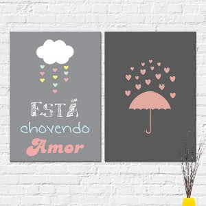 Kit Quadros Decorativos Chovendo Amor