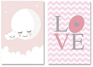 Kit Quadros Decorativos Love Lua