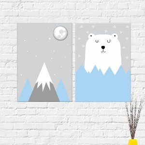 Kit Quadros Decorativos Urso Montanha