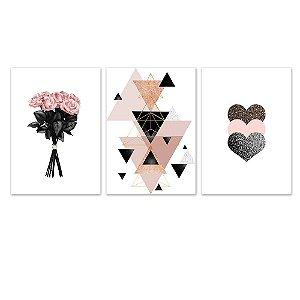 Kit Quadros Decorativos Coração Flor Abstrato Rosa