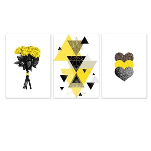 Kit Quadros Decorativos Coração Flor Abstrato Amarelo
