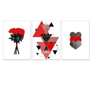 Kit Quadros Decorativos Coração Flor Abstrato Vermelho