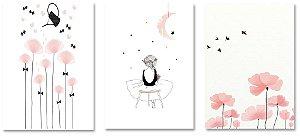 Kit Quadros Decorativos Menina Flores