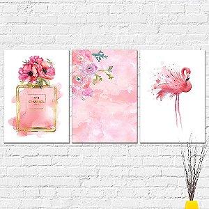 Kit Quadros Decorativos Flamingo Rosa