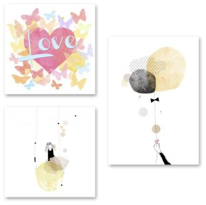 Kit Quadros Decorativos Menina Love