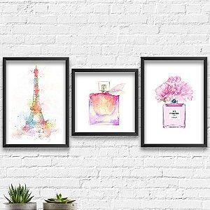 Kit Quadros Decorativos Paris Perfumes