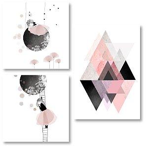 Kit Quadros Decorativos Menina Abstrato