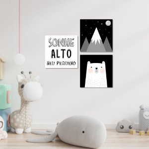 Kit Quadros Decorativos Urso Nórdico