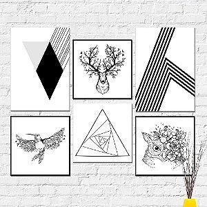 Kit Quadros Decorativos Nórdico Abstrato
