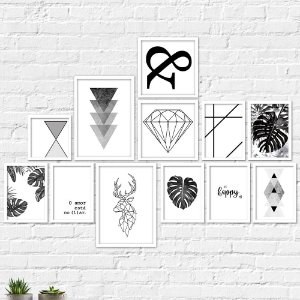 Kit Quadros Decorativos Nórdico Abstrato Minimalista
