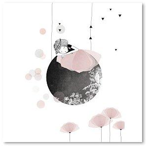 Quadro Decorativo Menina Lua