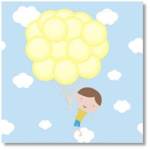 Quadro Decorativo Menino Balões
