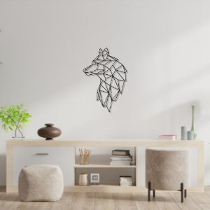 Escultura de Parede Lobo Geométrico