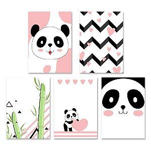 Kit Quadros Decorativos Pandas
