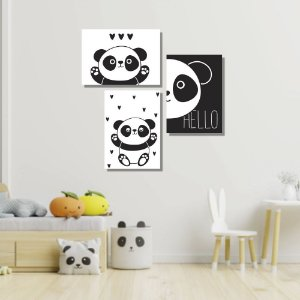Kit Quadros Decorativos Pandas