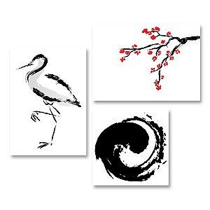 Kit Quadros Decorativos Decoração Yin Yang