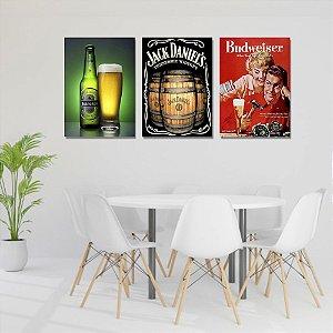 Kit Quadros Decorativos Decoração Bebidas