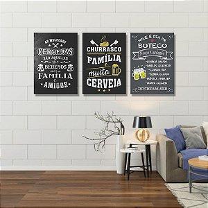 Kit Quadros Decorativos Decoração Churrasco Família