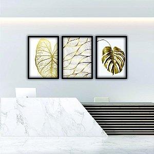 Quadros Decorativos Folhas Douradas