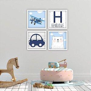 Kit Quadros Decorativos Decoração Infantil Aviãozinho