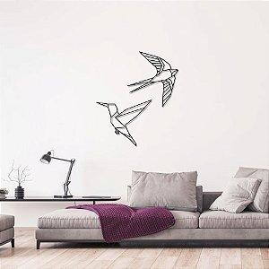 Escultura de Parede Pássaros Geométricos