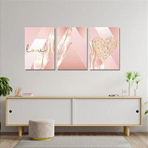 Kit Quadros Decorativos Decoração Abstrato Rosa Love