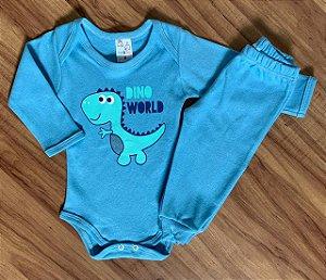 Body e Calça Azul Dinossauro