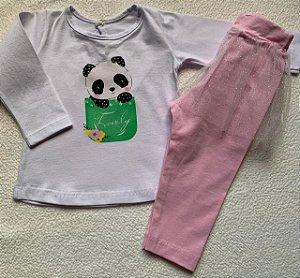 Conjunto de Camiseta Manga Longa e Legging com tutu brilhante rosa