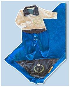 Saída Maternidade Macacão e Manta PLUSH Azul Royal
