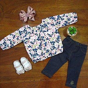 Conjunto Bata Floral e Legging Jeans