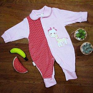 Macacão Longo Plush Girafa Rosa com Vermelho