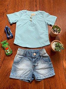 Conjunto Football Jeans e Azul 2Pçs