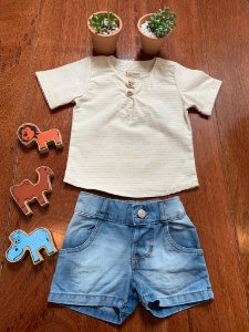 Conjunto Football Jeans e Bege 2Pçs