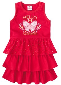 Vestido Verão com Strass Vermelho