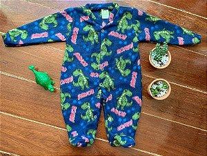 Macacão Longo Soft Dinossauro Azul