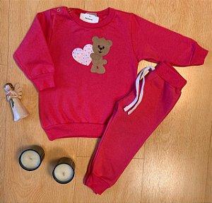 Conjunto de Moletom Ursinho Carinhoso Pink